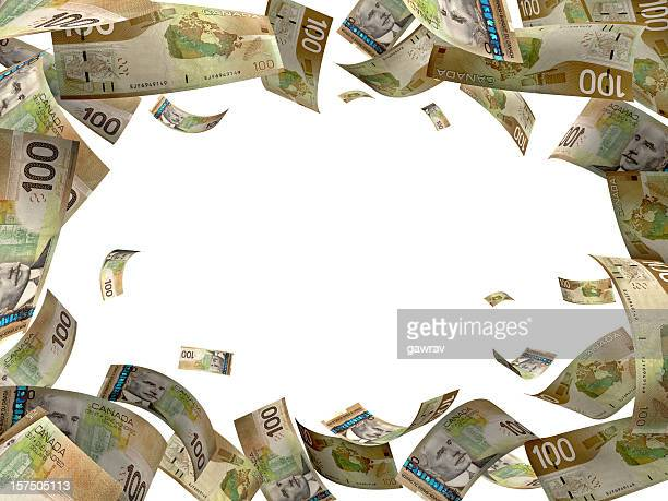 canadian dollar hundred bills falling from sky - canadian one hundred dollar bill stock pictures, royalty-free photos & images