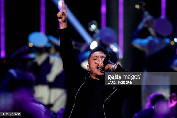 Canadian duo Loud Luxury memember Joe Depace performs during the Juno Music Awards at Budweiser Gardens in London, Canada, on March 17, 2019.