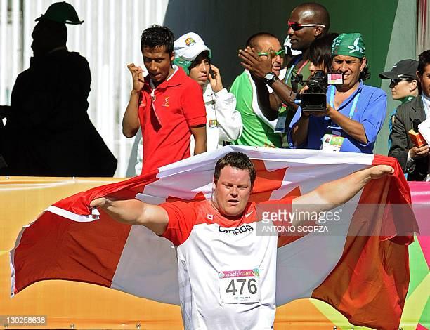 Canadian Dylan Armstrong celebrates his Gold medal for the Men's Shot Put during the Guadalajara 2011 XVI Pan American Games in Guadalajara, Mexico,...