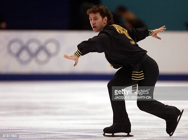 Canadian Elvis Stojko performs the men's free program at the Olympic Ice Center 14 February 2002 during the XIXth Winter Olympics in Salt Lake City...