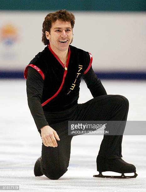 Canadian Elvis Stojko performs to place 7th of the men's short program at the Olympic Ice Center 12 February 2002 during the XIXth Winter Olympics in...