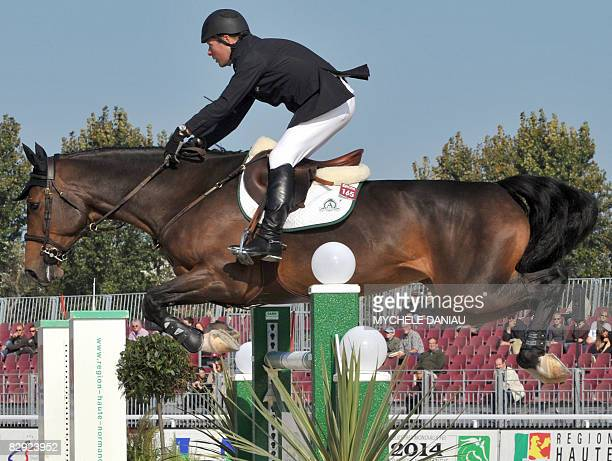 Canadian Eric Lamaze riding Take Off attends the jumping CSI***** n°3 on September 20, 2008 during the annual RIDE Normandie at the Clairefontaine...