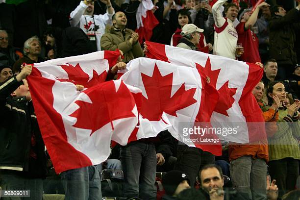 Canadian fans show their support during the men's ice hockey Preliminary Round Group A match between Canada and Germany during Day 6 of the Turin...