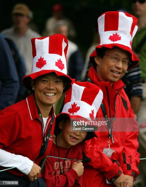 Canadian Fans support the International Team on the 6th hole during the round 2 fourball matches at the Presidents Cup at Royal Montreal Golf Club on...