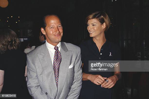 Canadian fashion model Linda Evangelista and American magazine executive Ron Galotti at a breast cancer awareness benefit New York City 1996