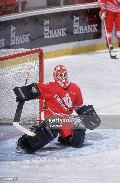 Canadian female professional ice hockey player Manon Rheaume defends the goal for Team Canada at the IIHF World Women's Championships Lake Placid New...
