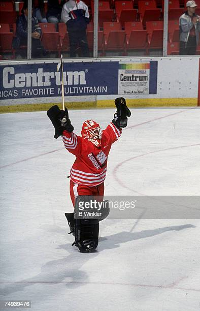 Canadian female professional ice hockey player Manon Rheaume raises her arms in celebration as she plays for Team Canada at the IIHF World Women's...