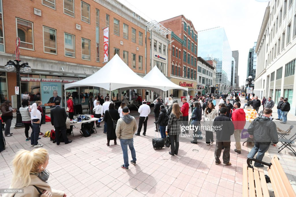 Canadian fencers and volunteers host an outdoor demonstration on Sparks Street during the Medley on the Street event on April 20, 2017 in Ottawa, Canada. The Medley on the Street event promotes Fencing Week in Canada and the upcoming National Canadian Fencing Championships.