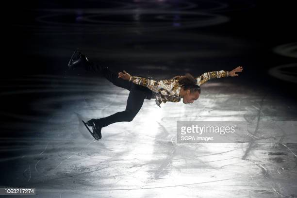 Canadian figure skater Elladj Baldé seen performing on ice during the show Revolution on Ice Tour show is a spectacle of figure skating on ice with...