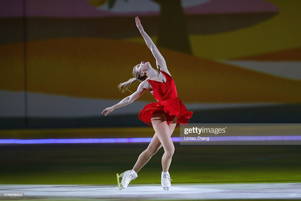 Canadian figure skater Joannie Rochette performs during the 2016 'Amazing on Ice' at Capital Indoor Stadium on July 15, 2016 in Beijing, China.