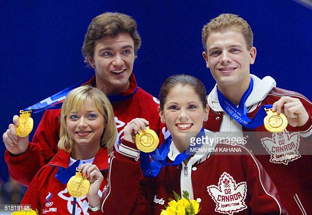 Canadian figure skating pair gold medalist Jamie Sale and David Pelletier and Russians figure skating pair gold medalist Elena Berezhnaya and Anton...
