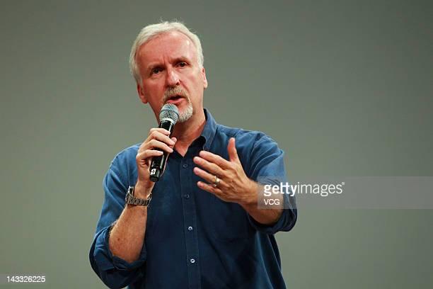 Canadian film director James Cameron speaks at Beijing Film Academy on April 23 2012 in Beijing China