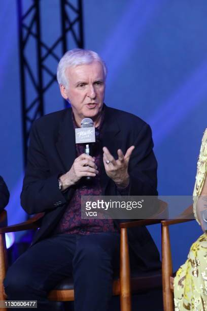 Canadian filmmaker James Cameron attends the press conference of film 'Alita: Battle Angel' on February 18, 2019 in Beijing, China.