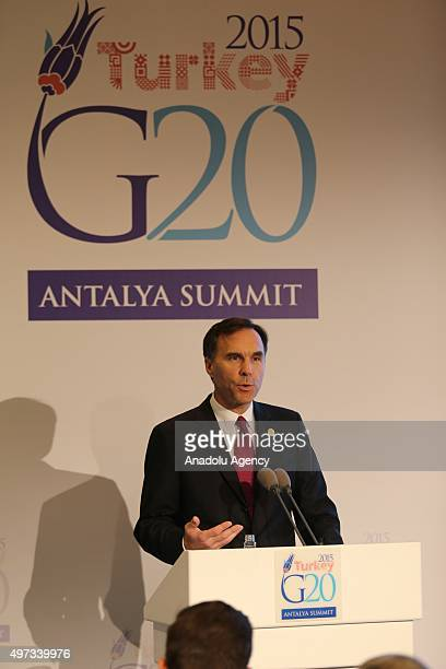 Canadian Finance Minister Bill Morneau holds a press conference within the G20 Turkey Leaders Summit on November 15, 2015 in Antalya, Turkey.