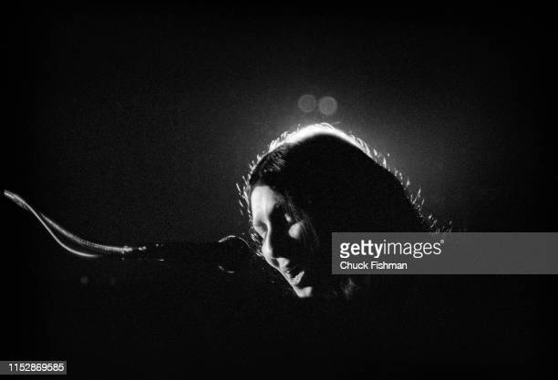 Canadian First Nations Folk musician Buffy SainteMarie performs onstage during a concert at the Northern Illinois University fieldhouse DeKalb...