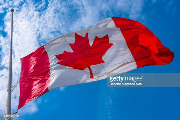 Canadian flag at halfstaff in mourning for the Toronto Van Attack victims The practice is a sign of national mourning triggered by important events