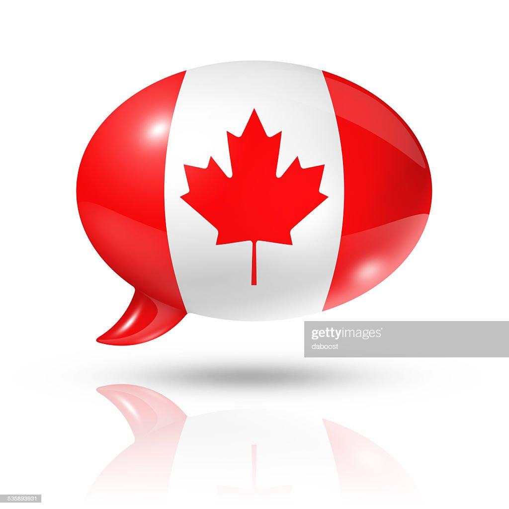 Canadian flag speech bubble : Stock Photo