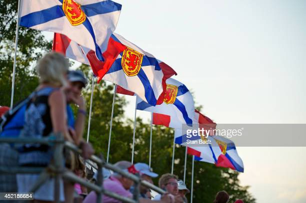 Canadian flags are seen on the 18th hole during the final round of the Webcom Tour Nova Scotia Open at Ashburn Golf Club on July 6 2014 in Windsor...
