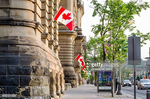 Canadian Flags on Langevin Block in Ottawa