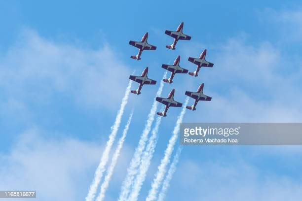 Canadian Forces Snowbirds perform during the 70 Anniversary of the Canada International Air Show.