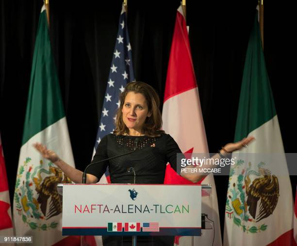Canadian Foreign Affairs minister Chrystia Freeland address the press at the closing of the NAFTA meetings in Montreal Quebec on January 29 2018 A...