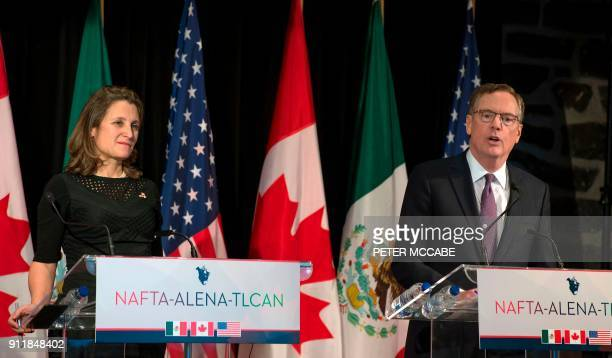 Canadian Foreign Affairs minister Chrystia Freeland looks on as US Trade Representative Robert Lighthizer speaks to the press at the closing of the...