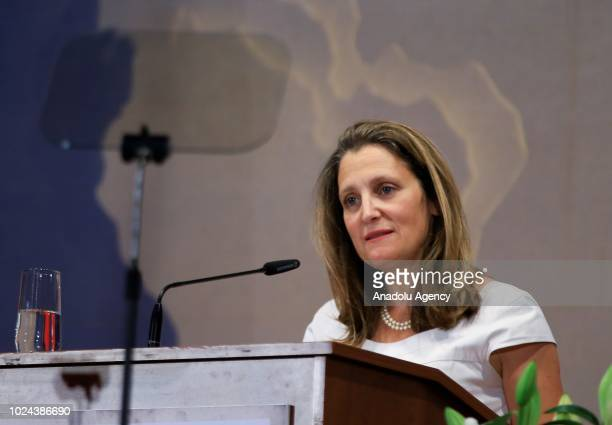 Canadian Foreign Minister Chrystia Freeland addresses ambassadors as she speaks during the opening of the 16th ambassadors' conference on August 27...
