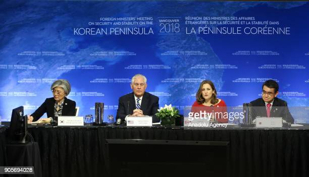Canadian Foreign Minister Chrystia Freeland addresses during Vancouver Foreign Ministers Meeting on Security and Stability on Korean Peninsula in...