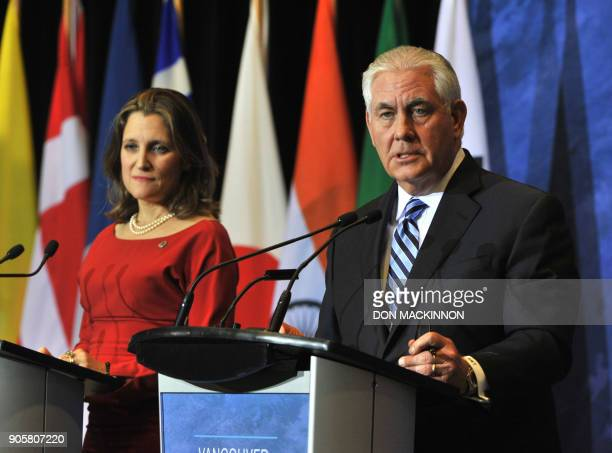 Canadian Foreign Minister Chrystia Freeland and US Secretary of State Rex Tillerson conduct a press conference at the Vancouver Foreign Ministers'...