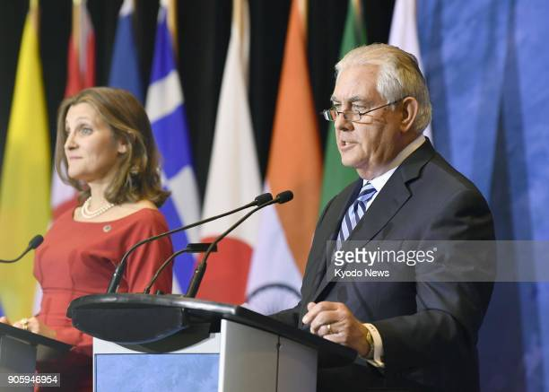 Canadian Foreign Minister Chrystia Freeland and US Secretary of State Rex Tillerson hold a joint press conference after a meeting of foreign...