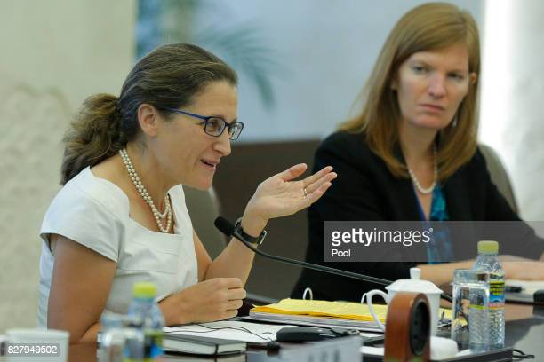 Canadian Foreign Minister Chrystia Freeland gestures as she speaks with Chinese Foreign Minister Wang Yi during their meeting at the Ministry of...