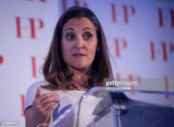 Canadian Foreign Minister Chrystia Freeland gestures as she speaks after receiving Foreign Policy's 2018 Diplomat of the Year award in Washington,...