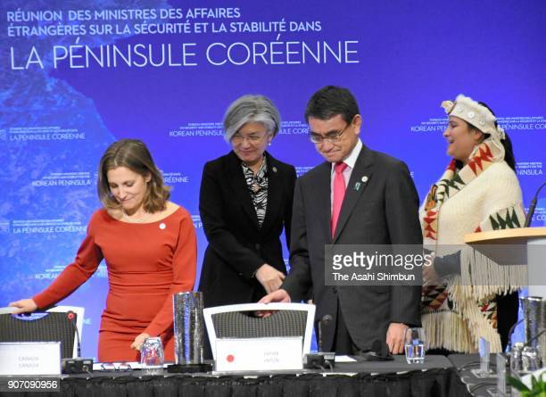 Canadian Foreign Minister Chrystia Freeland South Korean Foreign Minister Kang Kyungwha and Japanese Foreign Minister Taro Kono attend a press...