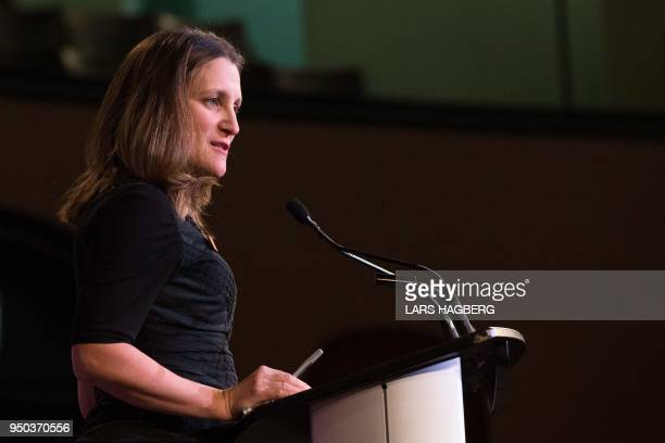 Canadian Foreign Minister Chrystia Freeland speaks during a media availability during the G7 Foreign Minister meeting in Toronto Ontario on April 23...