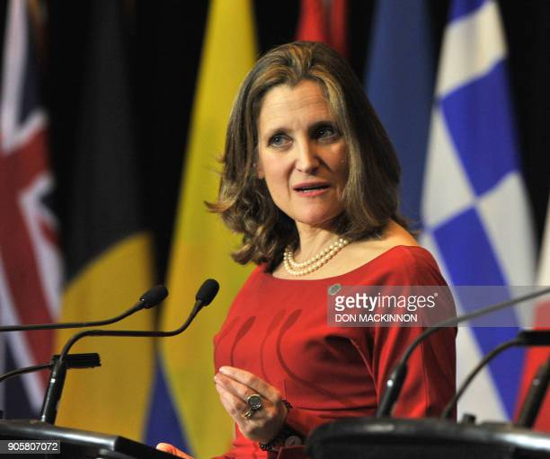 Canadian Foreign Minister Chrystia Freeland speaks during a press conference at the Vancouver Foreign Ministers' Meeting on Security and Stability on...