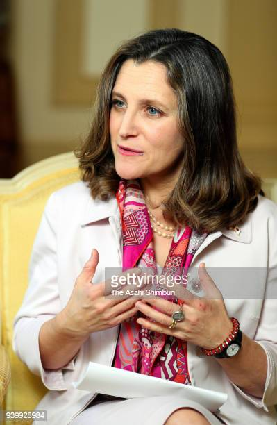 Canadian Foreign Minister Chrystia Freeland speaks during the Asahi Shimbun interview on March 28 2018 in Tokyo Japan