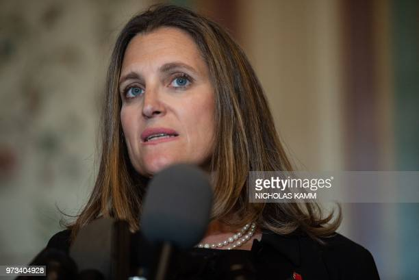 Canadian Foreign Minister Chrystia Freeland speaks to the press after meeting the US Senate Foreign Relations Committee at the US Capitol in...