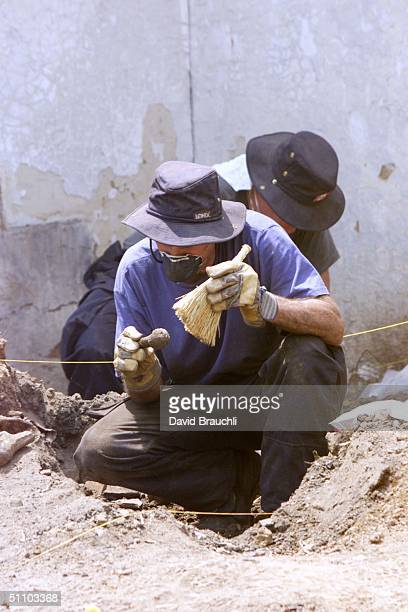 A Canadian Forensics Expert Brushes Off Bones Found At A Mass Grave Site In Vlastica Some 70 Kms Southeast Of Pristina Wednesday June 30 1999...