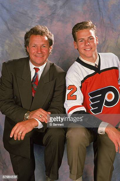 Canadian former hockey player Darryl Sitter poses with his son Ryan Sittler who had just been drafted by the Philadelphia Flyers during the 1992 NHL...