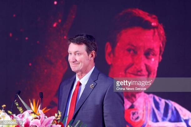 Canadian former ice hockey player Wayne Gretzky makes speech at a press conference during his first China tour on September 13 2018 in Beijing China