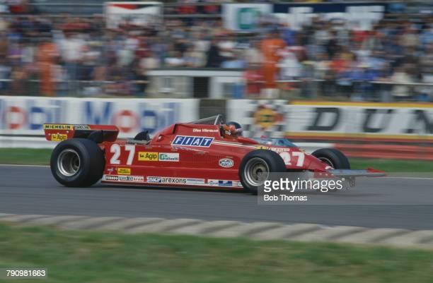 Canadian Formula One racing driver Gilles Villeneuve drives the Scuderia Ferrari Ferrari 126CK Ferrari V6 in the 1981 British Grand Prix at...