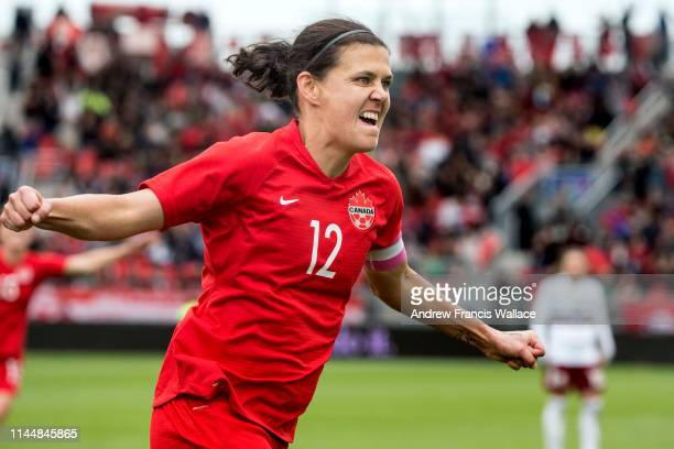 TORONTO ON MAY 18 Canadian forward Christine Sinclair celebrates her goal against Mexico during International Women's Soccer at BMO Field in Toronto...