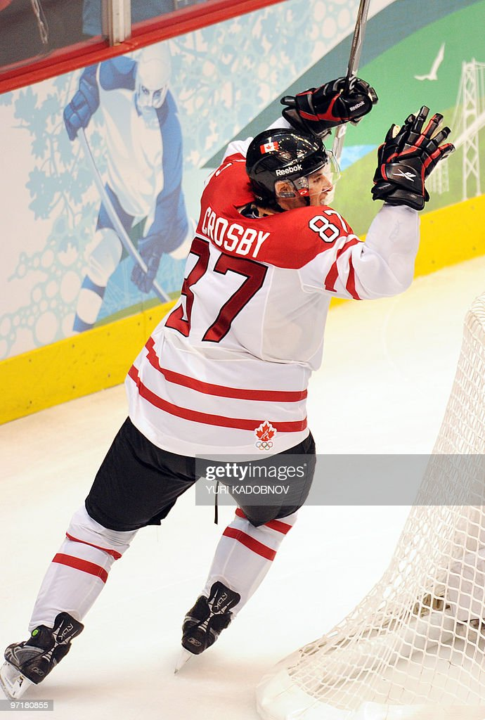 Canadian forward Sidney Crosby (87) celebrates scoring as his team win gold during the Men's Gold Medal Hockey match between USA and Canada at the Canada Hockey Place during the XXI Winter Olympic Games in Vancouver, Canada on February 28, 2010. Canada beat the USA 3-2 to win gold.