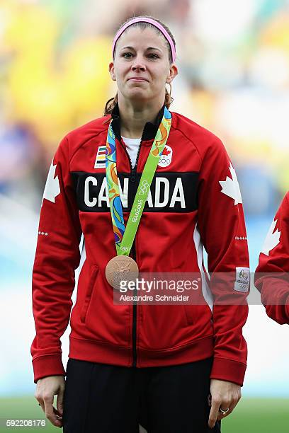 Canadian goalkeeper Stephanie Labbe of Canada celebrates with her medal following her teams victory during the Women's Olympic Football Bronze Medal...