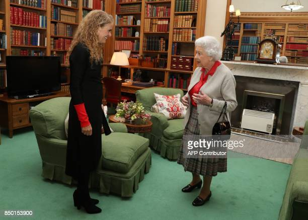 Canadian Governor General Designate Julie Payette meets Britain's Queen Elizabeth II at a private audience at Balmoral Castle in Scotland on...