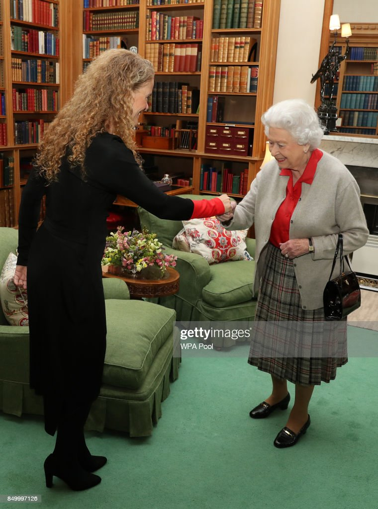 Canadian Governor General Designate Julie Payette meets Queen Elizabeth during a private audience at Balmoral Castle on September 20, 2017 in Aberdeen Scotland.