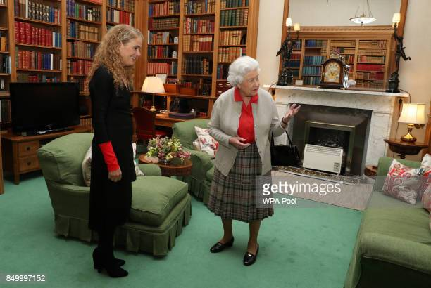 Canadian Governor General Designate Julie Payette meets Queen Elizabeth during a private audience at Balmoral Castle on September 20 2017 in Aberdeen...