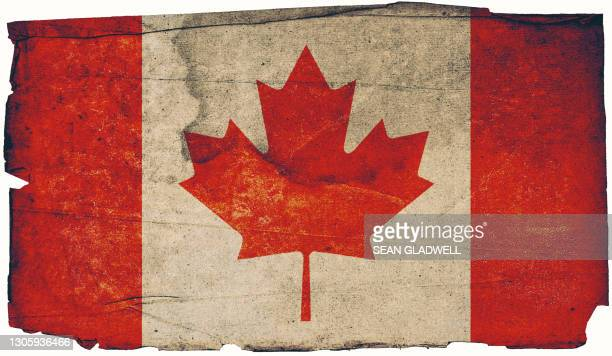 canadian grunge flag - insignia stock pictures, royalty-free photos & images