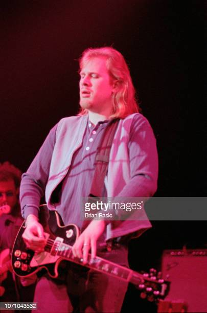 Canadian guitarist and musician Jeff Healey performs live on stage at Shepherd's Bush Empire in London in April 1995.