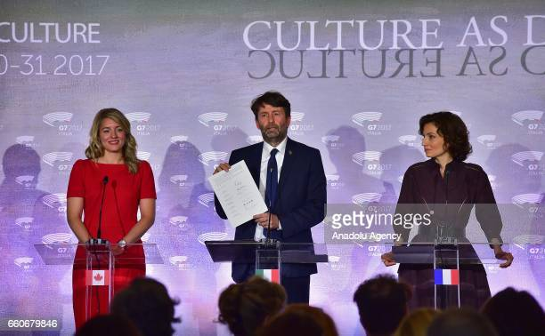 Canadian Heritage Minister Melanie Joly Italian Culture Minister Dario Franceschini and French Culture Minister Audrey Azoulay attend the First G7...